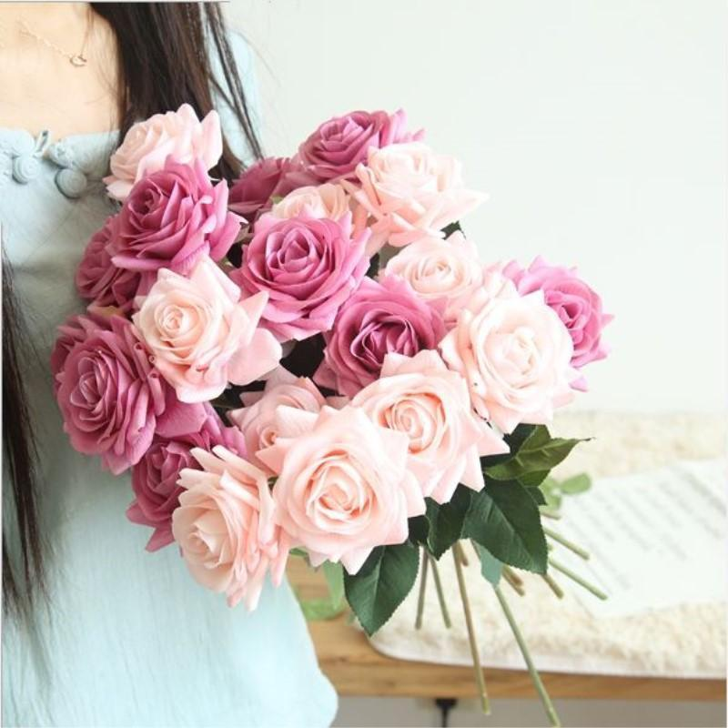 Hydrating Roses Artificial Flower DIY Roses Bride Bouquet Fake Flower for Wedding Decoration Party Home Decors Valentine's Day