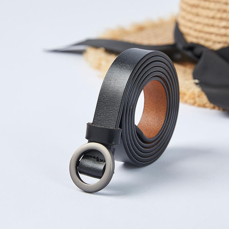 2021 новая круглая кнопка нежелательный неффорированный кожаный женский ремень досуг украшения брюк ремень мода гладкая пряжка пояса