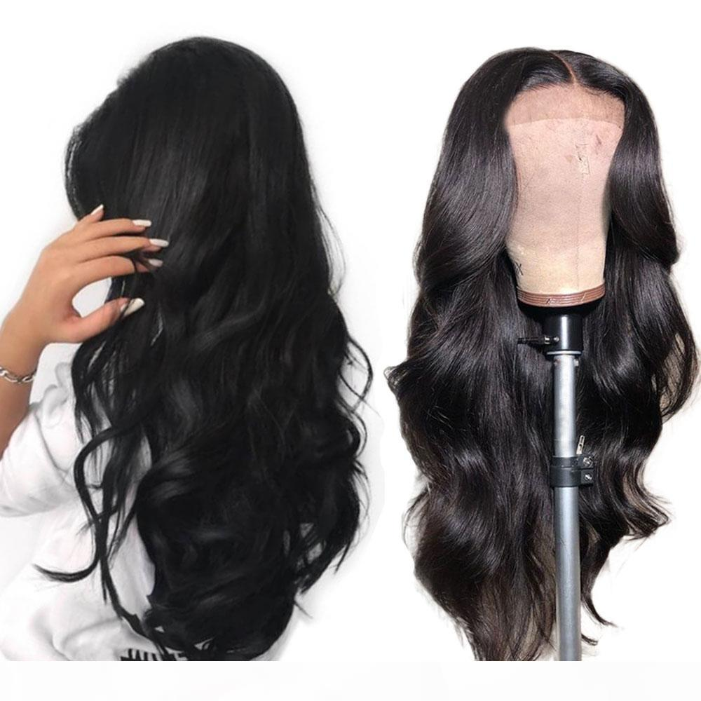 Lamera de onda de cuerpo de encaje completo sin glanas brasileño Remy pelo pelucas frontal pelucas humanas Pelucked con cabello bebé para afroamericano