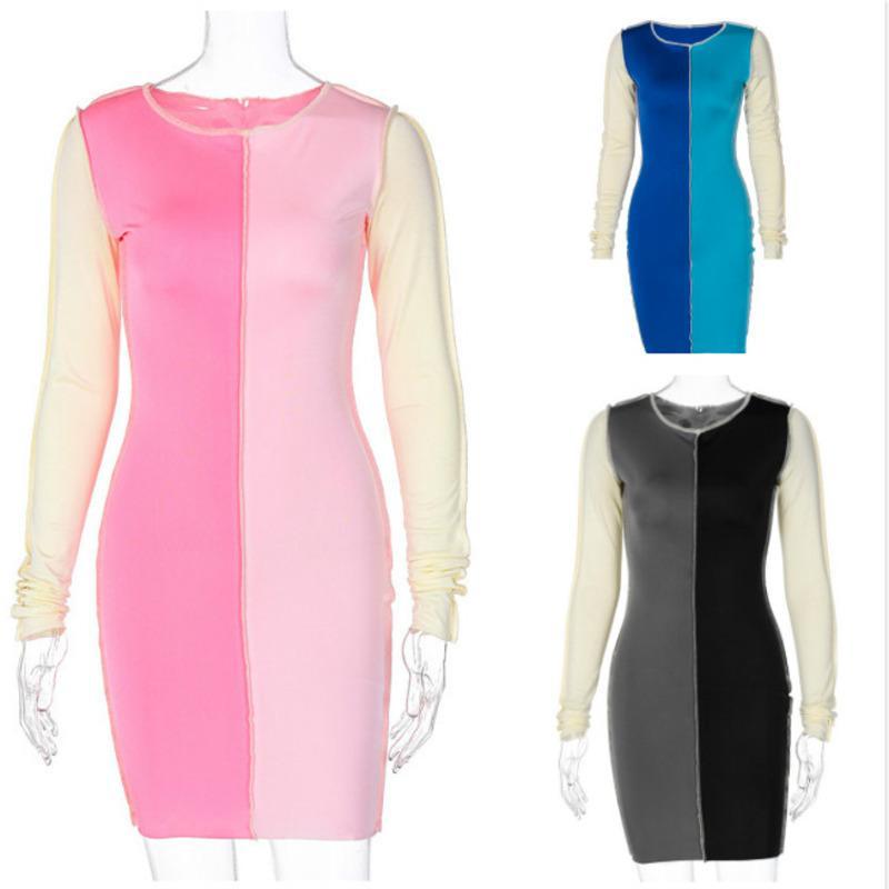 Женские платья одежда платье с длинным рукавом дамы размером один мини контрастность большой сексуальный кусок юбка в юбках осень середина строчки зима новый UEWGN