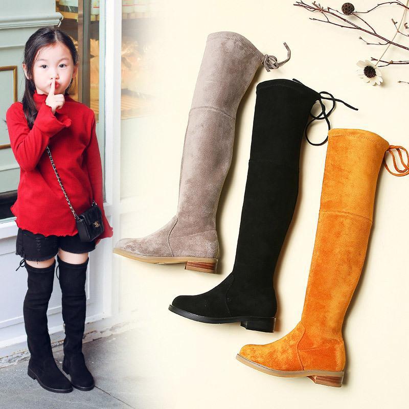 الأطفال فوق الركبة الأحذية فتاة أحذية الركبة أزياء الأطفال الأحذية 2019 الخريف والشتاء الأميرة الفتيات الأحذية Y200104