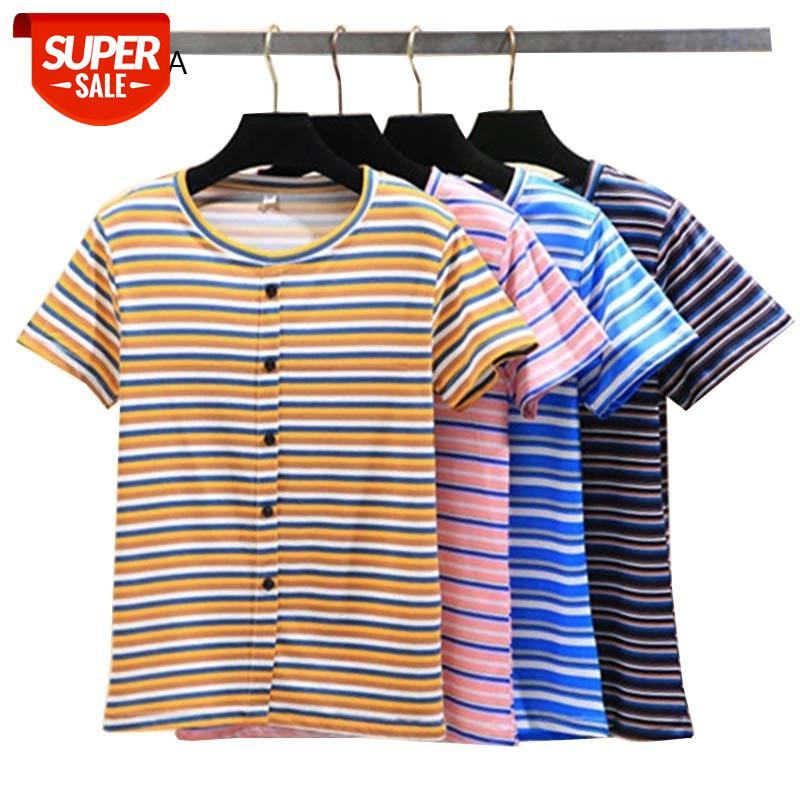 Yaz Kadın T-shirt Temel Çizgili Kadın Tshirt Rahat Tee Tops O-Boyun Kısa Kollu Lady T-Shirt Harajuku Stil Kızlar T Gömlek # GF4M