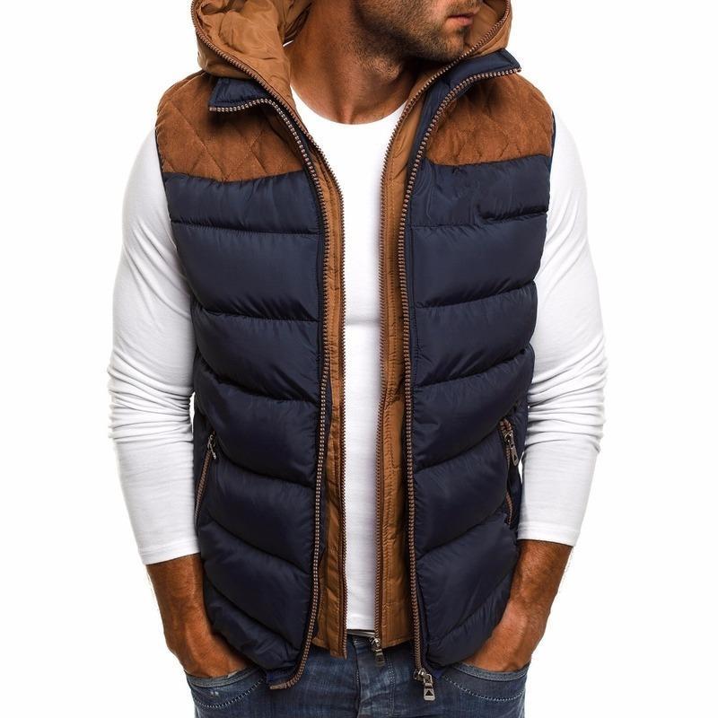Zogaa hiver hommes veste gilet chaud coton sans manches à capuche paillasse veste de gilet décontracté gilet gilet fermeture zippot patchwork manteau veste gilet 201120