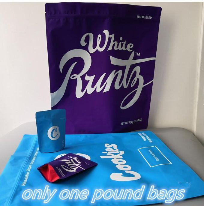 Real polvere a prova di polvere 100% Solo una borsa da polvere 16oz Cookies California Runtz Antolo a prova di imballaggio Borsa da imballaggio Runtz Sterlina Borse da imballaggio per Easy HJK