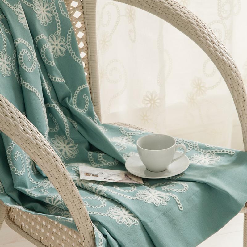 Tende in cotone in cotone ricamato in stile americano in stile rustico per soggiorno Camera da letto Tende trasparenti Blackout1