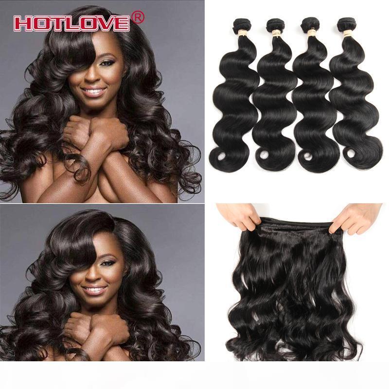 Hotlove Mongolian Virgin Hair Body Wave 3 4 Paquetes Lot Natural Negro Puede ser coloreado 100g PCS Precio de fábrica Mongole Cuerpo Extensiones onduladas