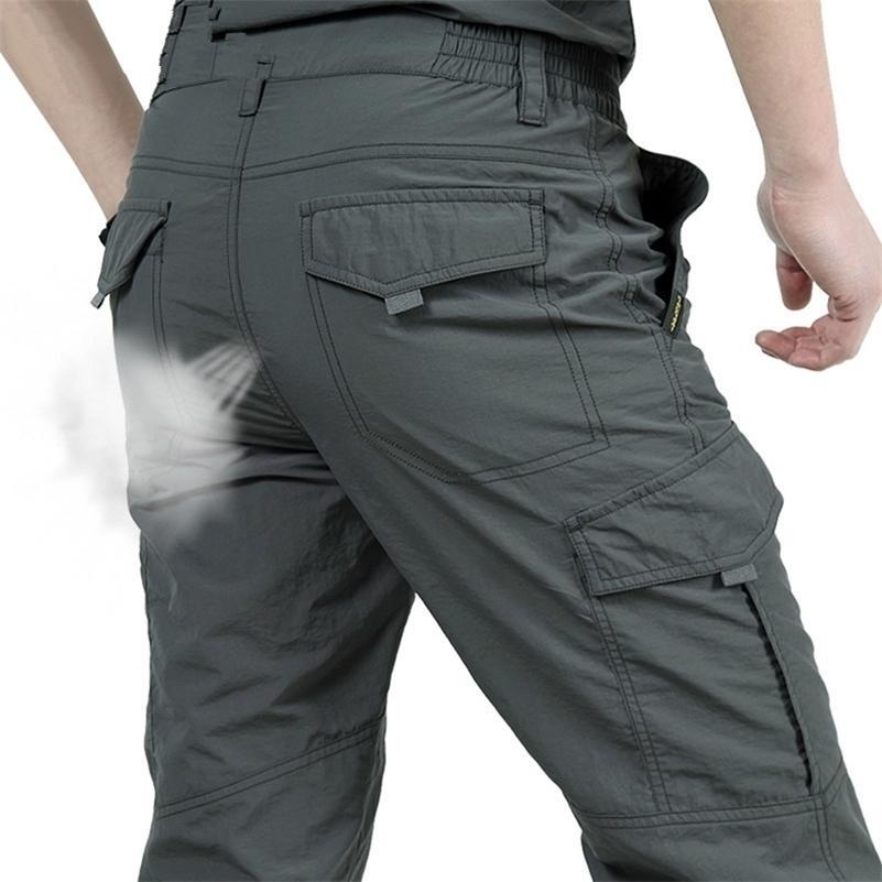 Nefes Hafif Su Geçirmez Hızlı Kuru Rahat Pantolon Erkekler Yaz Ordu Askeri Stil Pantolon erkek Taktik Kargo Pantolon Erkek 201109