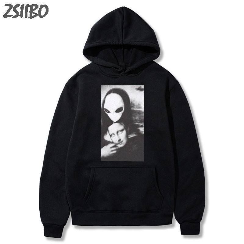 de homens Hoodies Harajuku Mona Lisa torna-se cara extraterrestre engraçado Imprimir camisola Unisex HipHop Streetwear Casual Fatos X1022