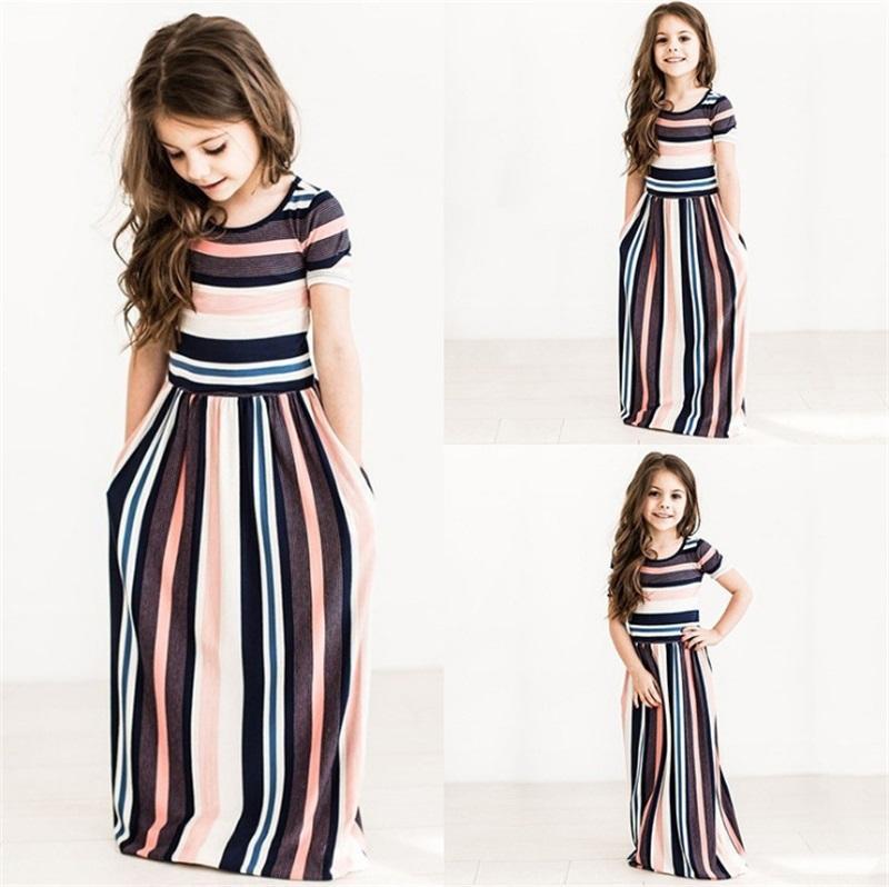 Lovely Baby Girl Dress Multi Color Striped Circle Neck Short Sleeve Floor Length Skirt Summer Beach Kids Dresses Clothes 17 5at L2