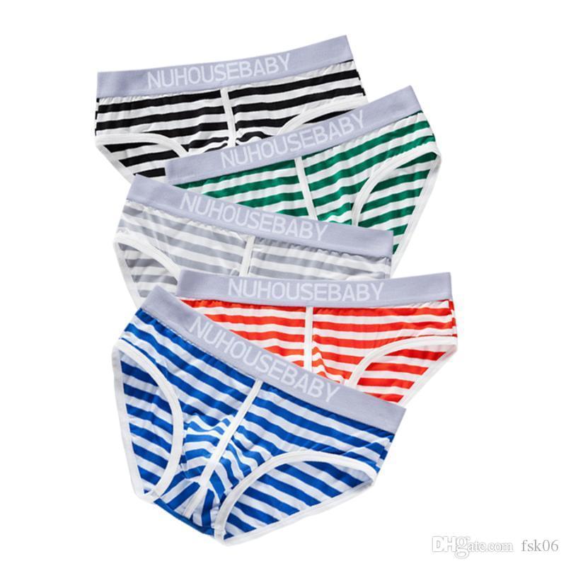 4pcs reizvollen Männer Briefs Streifen Thongs Baumwolle Low Waist Unterhos Mann-Unterwäsche-Mann-Wäsche Bequeme Femme Herren Hosen YJ004