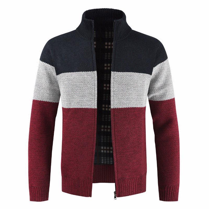 2019 Cardigan Automne Nouveau Laine Casual Jumper Mode d'hiver poches rayé tricot Outwear Manteau Pull Hommes