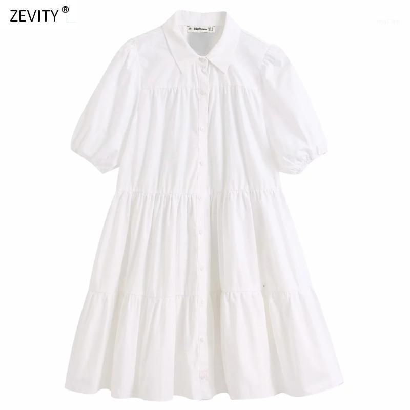 Женщины просто сплошные цветные повседневные белые рубашки офис офис леди слоеная рукава складки Vestidos Chic досуг большие качели платья DS34381
