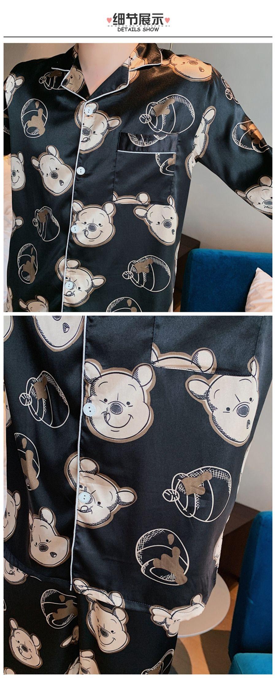 Sommer-Eis-Silk Paar Blume gedruckt Nachtwäsche Short Sleeve Shorts Sets Satin Silk Thin Pyjama Männlich Weiblich Plus Size Simple Home Wear X9 # 859