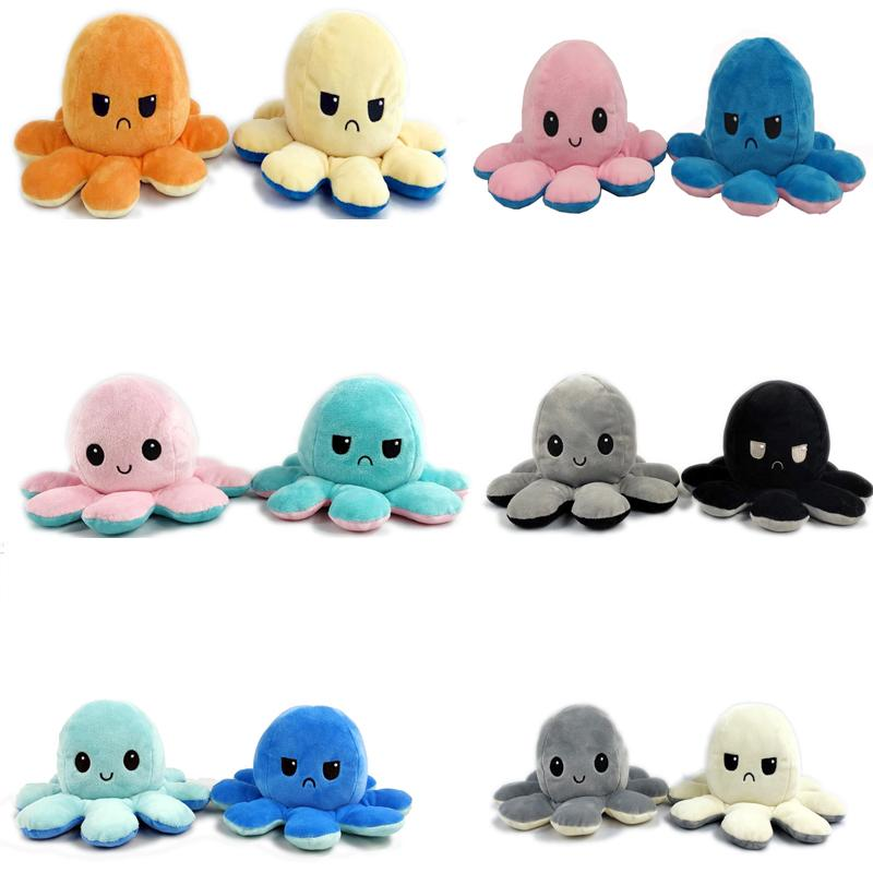 1PC Cute Octopus Plush Doll Reversible Stuffed Plush Toy Soft Double-sided Flip Octopus Doll Children Girls Doll Home Decoration LA228