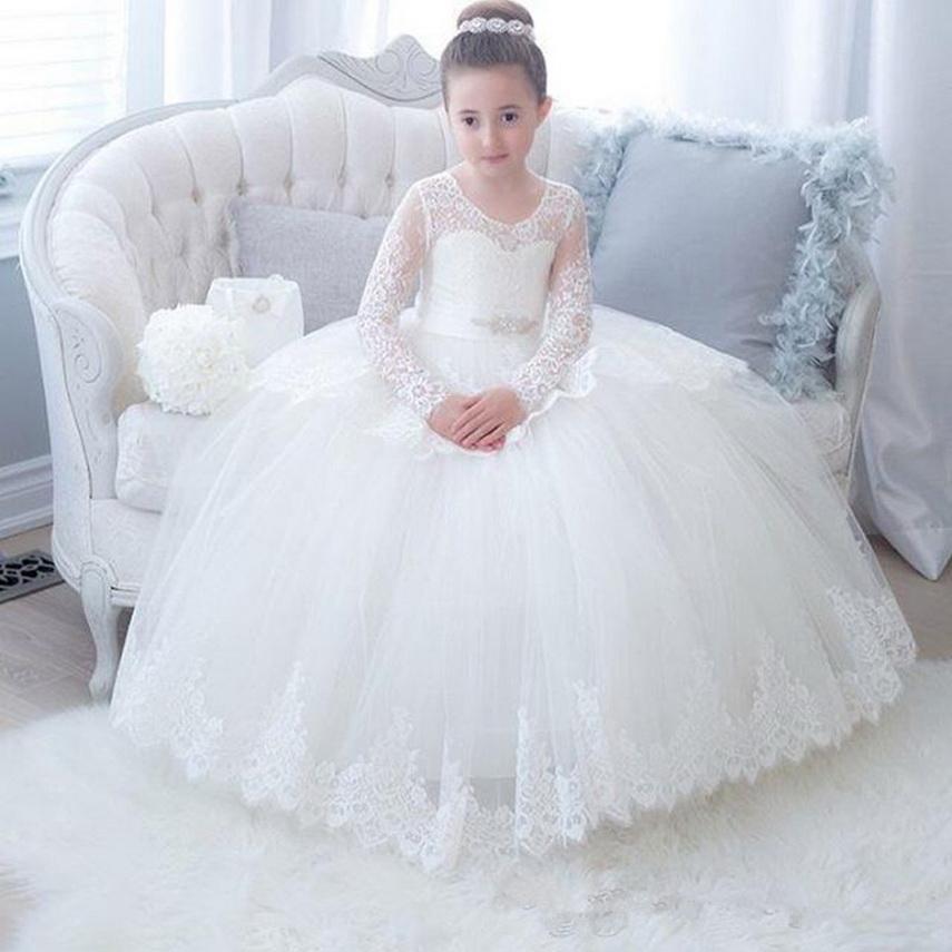 2021 Lace manica lunga ragazze di fiore abiti della paletta di sfera principessa Little Girls Wedding Party Dress Abiti da Prima Comunione