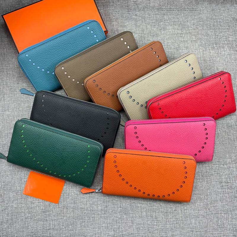 Luxuey Women Moneder Fashion Zipper Wallet 100% de piel de becerfskin Diseñadores de cuero Bolsas Tarjetas de moneda Cartera Lady Pruses con caja