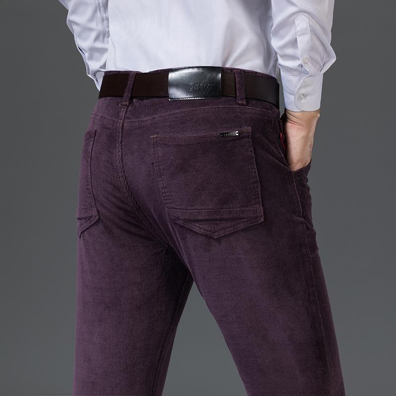 Pantaloni da uomo 6 opzioni di colore 2021 Autunno e inverno Business Casual Casual Corduroy Fashion Stretch Pantaloni solidi adatti regolari