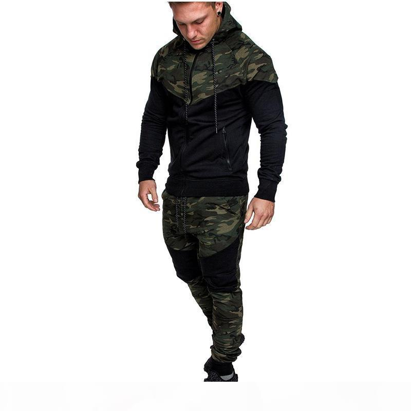 Mens Camouflage Patchwork Autumn Hoodies Man Zipper Fly Hooded Neck Cardigan Jackets Men Fashion High Street Clothes