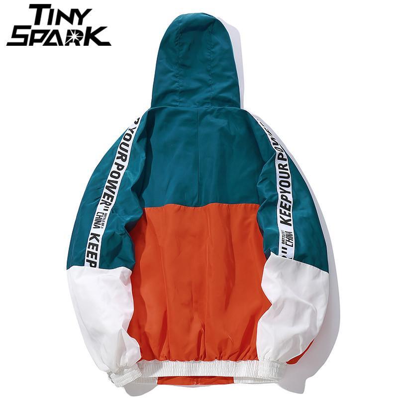 Хип-хоп Mens с капюшоном ветровка куртки осенью Повседневного Vintage Color Block Сыпучей Дорожка куртка Hoodie пальто Streetwear HipHop 201014