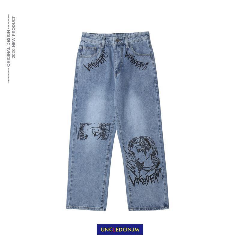 UNCLEDONJM Karikatür Retro Kot erkek BF Harajuku Moda Marka Hip-Hop Serin Sokak Moda Pantolon Biker Jeans Tasarımcısı N1165 201111