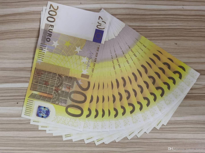 Bank Paper Realistic Prop Copy La maggior parte della collezione Nightclub Play money beack note soldi falso 200euros soldi per il film 22 BBASE
