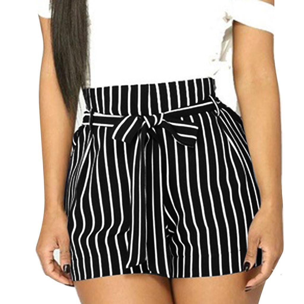 Nouveau HOT femmes courtes Stripe impression de poche à taille haute Bandage élastique facile Pantalon Courtes court Feminino spodenki damskie