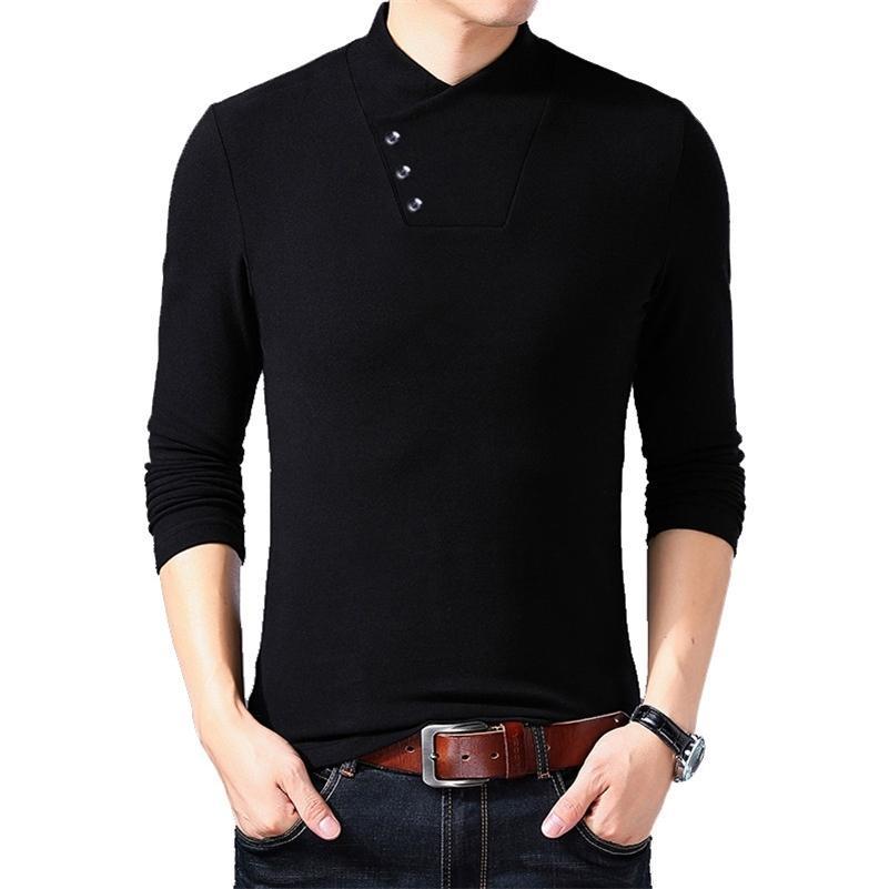 Browon Spring Fashion Slim Fit T рубашка мужская хлопчатобумажная футболка мужская с длинным рукавом нерегулярный воротник сплошной цветной мужской одежды 201117