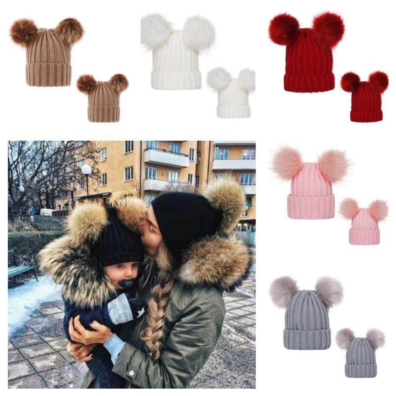 Mom Girl Match Crochet Beanies Hat Ribbed Knit Winter Hat with 2 Pom Big Ball Womens 0-3 Years Baby Kids Skull Caps Tuque Headwear E101904
