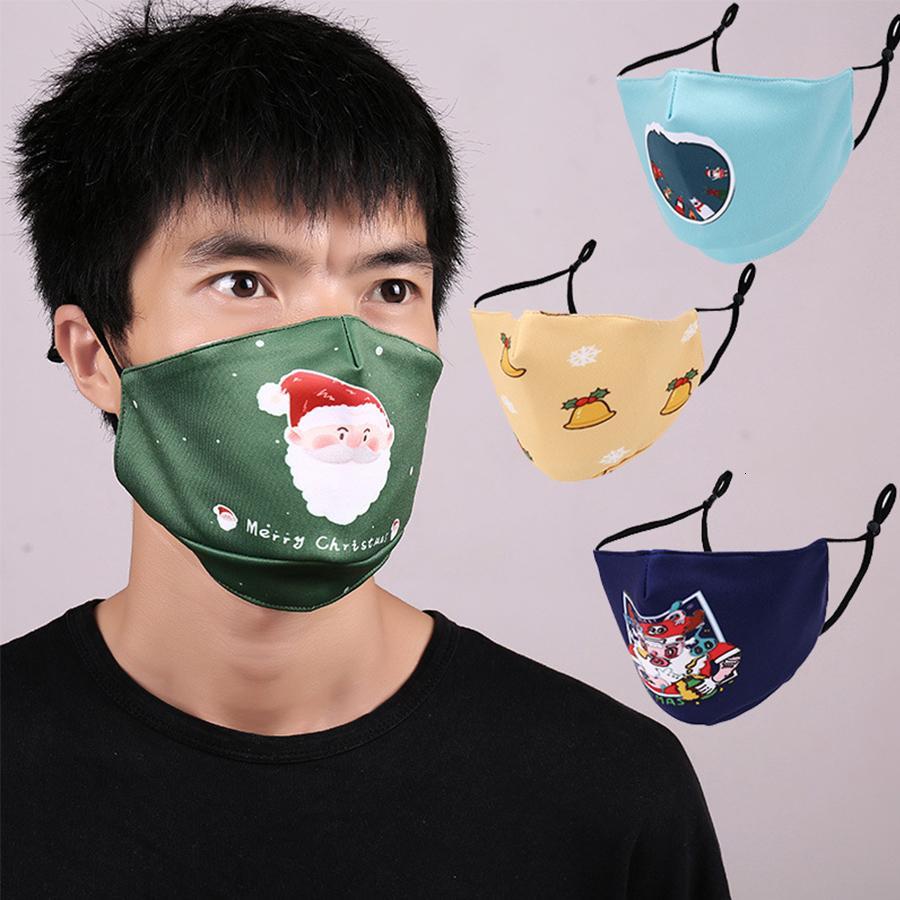 Özel PM2.5 Face 3d Desen 2 Filtre toz geçirmez ve Anti-pus Yıkanabilir Moda Baskılı Noel Yetişkin Hwd967 Maske