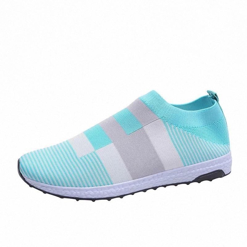 Zapatillas de deporte ligeras Mujeres transpirables zapatos vulcanizados al aire libre moda zapatos de calcetines planos para caminar más tamaño # Z11G