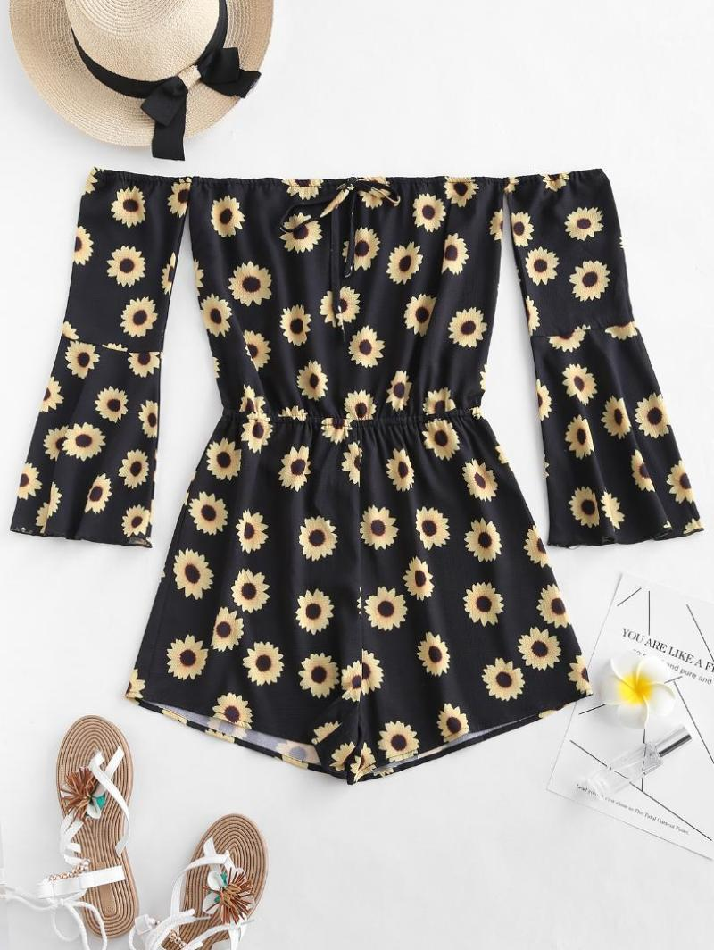 AZULINA Off Shoulder Bell Sleeve Sunflower Print Romper Fashion 2019 Women Playsuit Casual Vintage Short Rompers Womens Jumpsuit1
