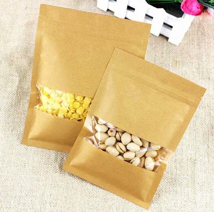 50pcs Wholesale Kraftpapier Klar Verpackung Beutel Recycelbar Reißverschluss Hahn mit Fenster Hochzeit Süßigkeiten Verpackung Beutel 6d6l #