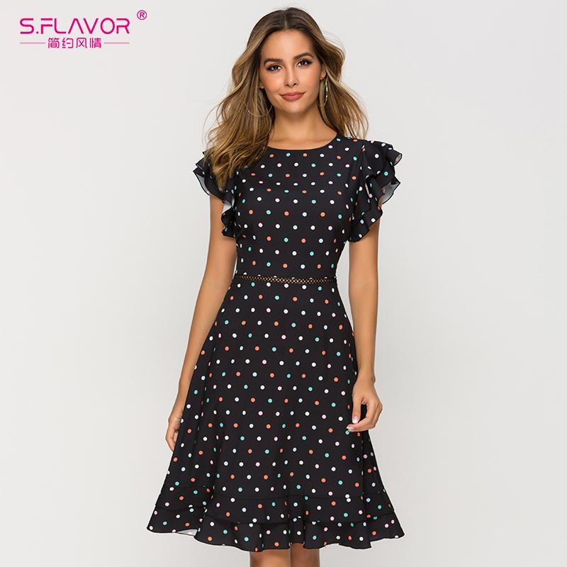 S.FLAROM SEXY талия, выдолбленные женские платье весна O-шеи точка точка шикарное платье женское тонкое мода A-Line летние Vestidos Y200101