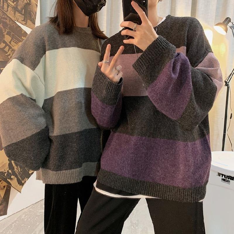 Suéter a rayas de invierno Hombre Cálido y de moda Hit Color Casual Punto de punto Hombres Ropa suelta Pareja Tejer suéteres