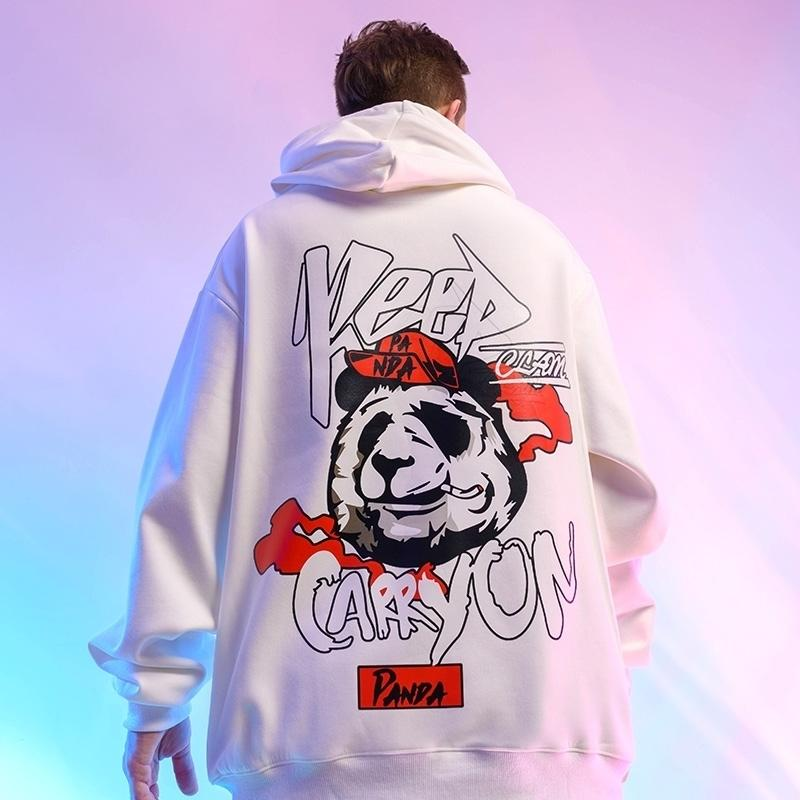 Zazomde hombres Hip Hop Streetwear Hoodie Harajuku Impresión Sudadera sudadera Sudadera Invierno Pullover hombres Sudaderas con capucha Panda Estilo Casual Y201123