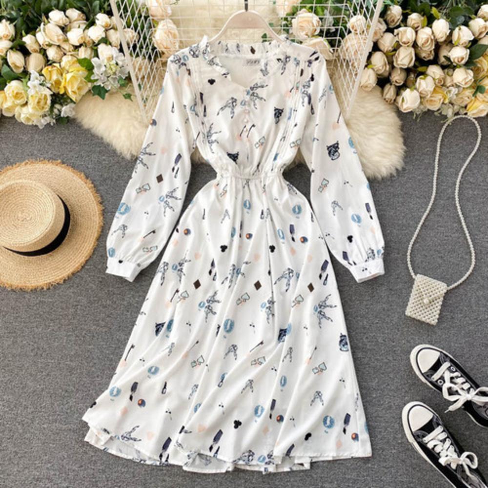 2020 새로운 패션 여성 의류 V 넥 전체가 드레스 드레스 여성 인쇄하기