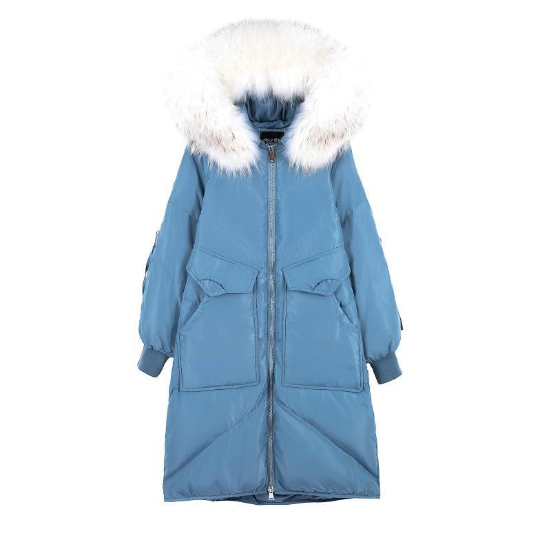 (TopFurMall) Kadınlar Parkas Aşağı Palto Ceket Real Rakun Kürk Hoody Kış Lady X-Uzun Dış Giyim Palto LF9176