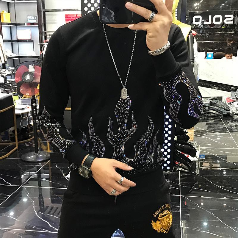 Freeship Herren schwarze Sweatshirts Rhinestone Perlstickerei Hülsen lange warme T-Shirt Art und Weise / Studio / bling Stil