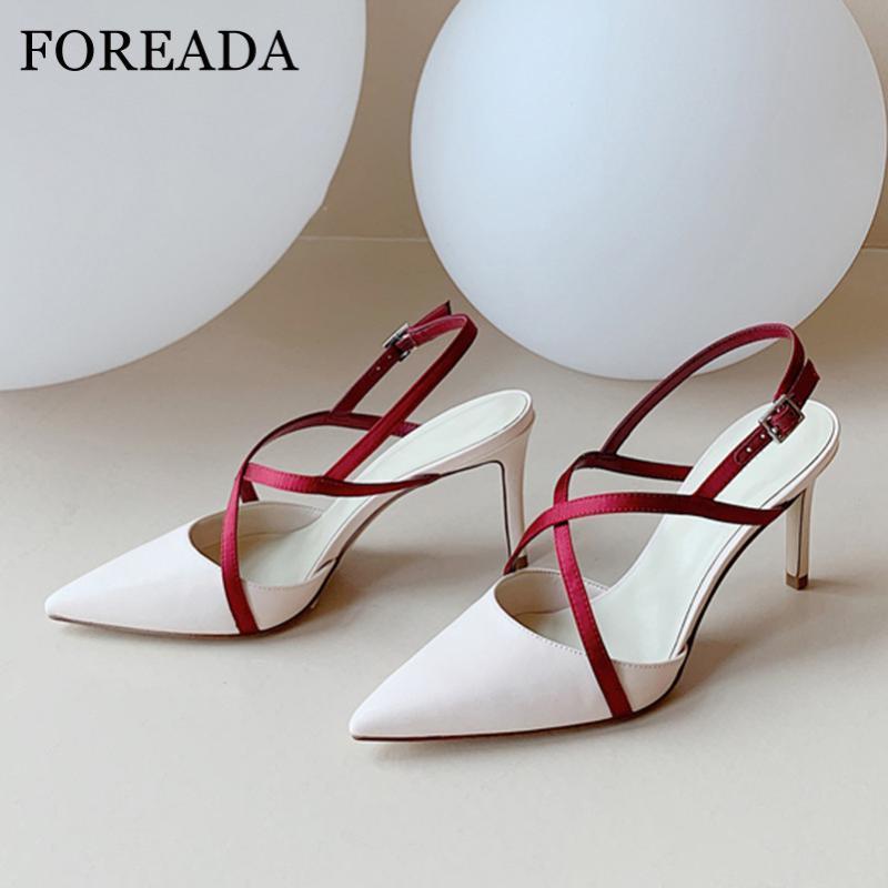FOREADA Высокие каблуки женщин Обувь Босоножки из натуральной кожи Natural Thin ботинки высокой пятки крест связали пряжкой ремень острым носом Насосы