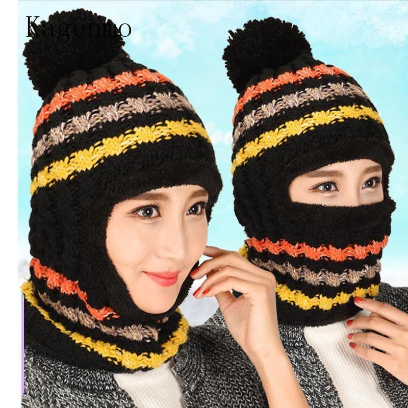 Kagenmo spessore lana maglia con scollo collo cappello cappello femminile caldo inverno berretto da baseball protezione orecchio protezione mantieni calore viso inverno cappelli1