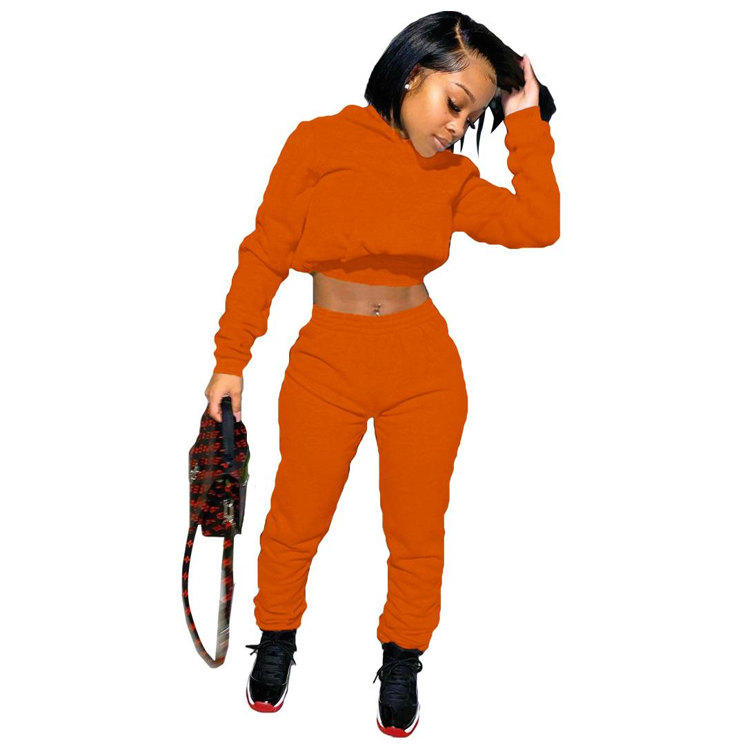 Women Hoodies Two Piece Sets Pullover Hooded Swearshirt Bandage Pencil Pants Famale Sport Clothing Suit