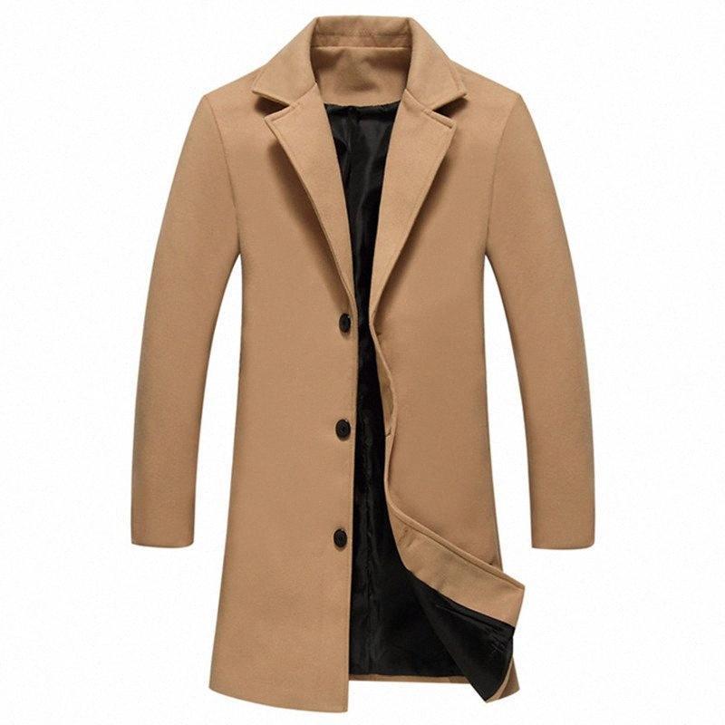2019 Homme Pardessus Casual Simple boutonnage Solid Slim Fit trench long / Veste Automne Hiver Homme WoolBlends coupe-vent iXpf #