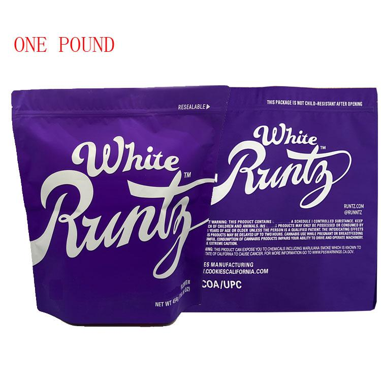 white runtz purple color one pound size flower packaging mylar bag with resealable zipper bag on the top