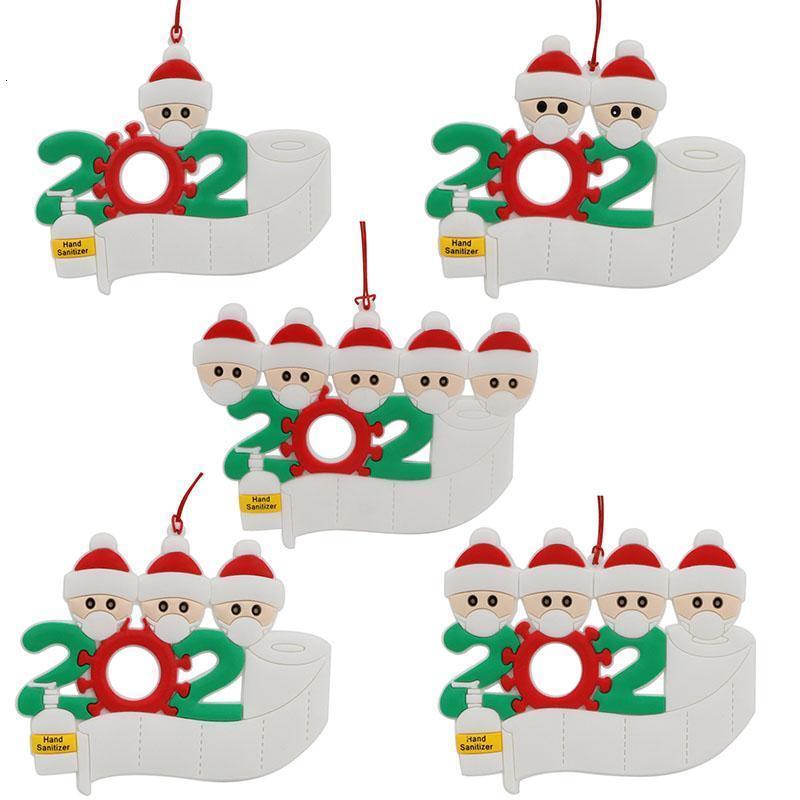 Familia ornamento personalizado de la Navidad 2 3 4 5 6 7 Decoración de resina máscara mano lava árbol de Navidad Colgante OOA9152IRL9 colgante 1000pcs