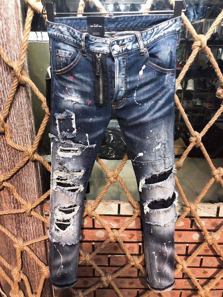 Die neuen beliebten Männerjeans in Europa und den Vereinigten Staaten im Jahr 2020, Motorrad rippten Jeans, Männer Casual Jeans D9608