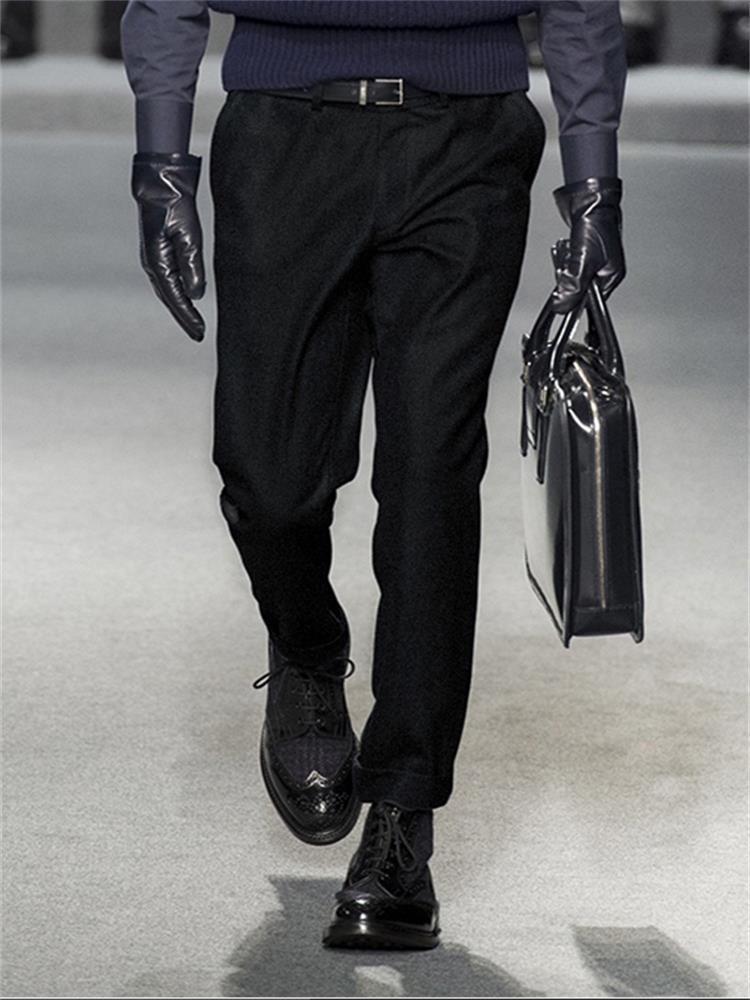Мужские брюки шерстяные брюки британский бизнес Slim 2021 зима скрученные моды европейские и американские плюс размер