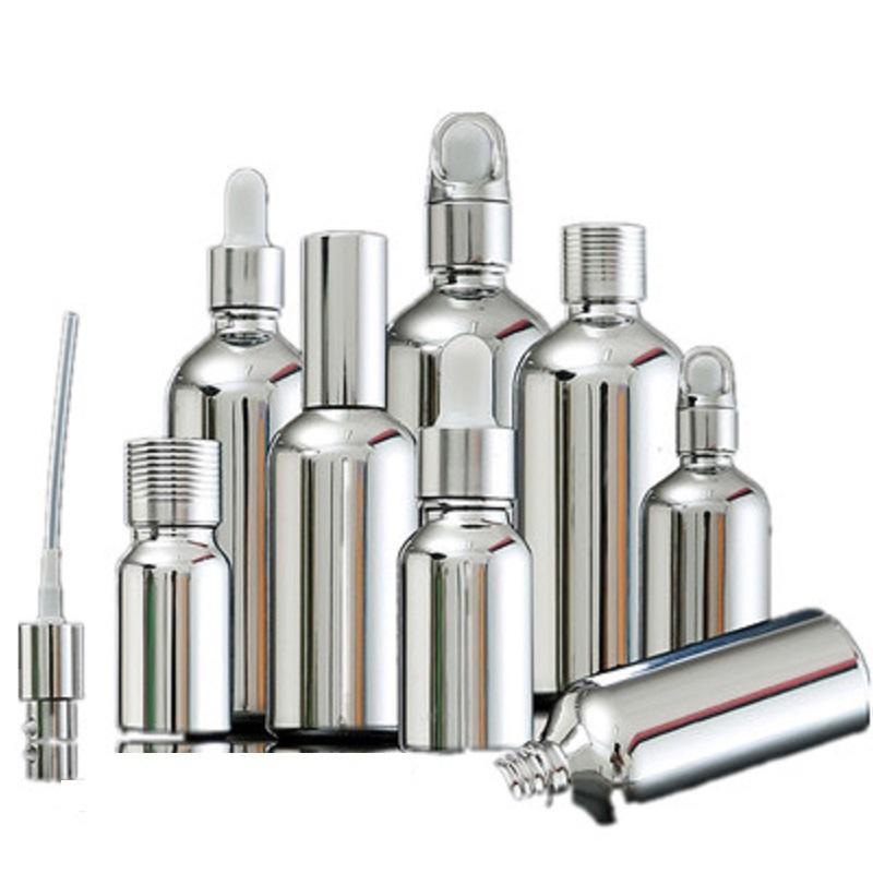 5ML 30ML 100ML Argento vetro olio essenziale contagocce imballaggio cosmetico del siero della pompa della lozione dello spruzzo Vial 15pcs 201013