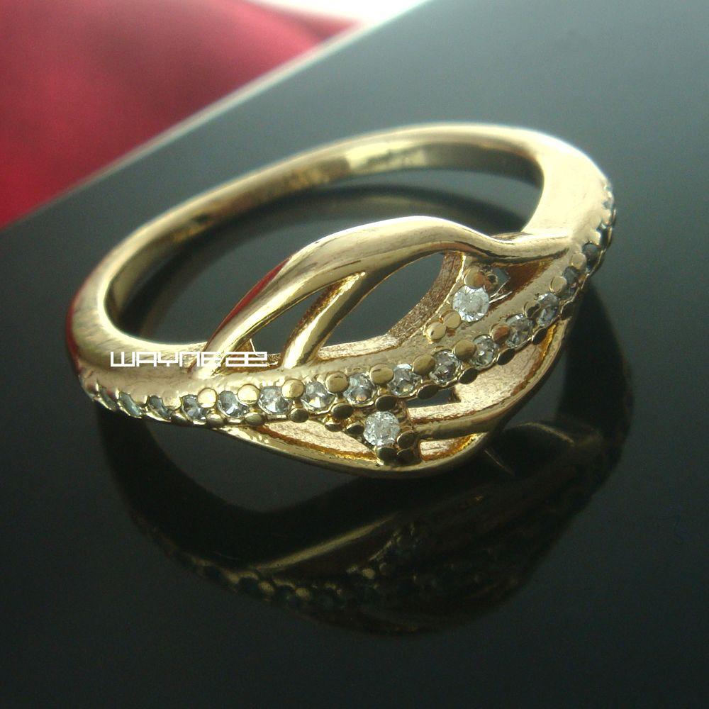 Größe 7 und 8 18K Gold-GP-Ring Saphir-Verpflichtungs-Schmucksachen (R235)
