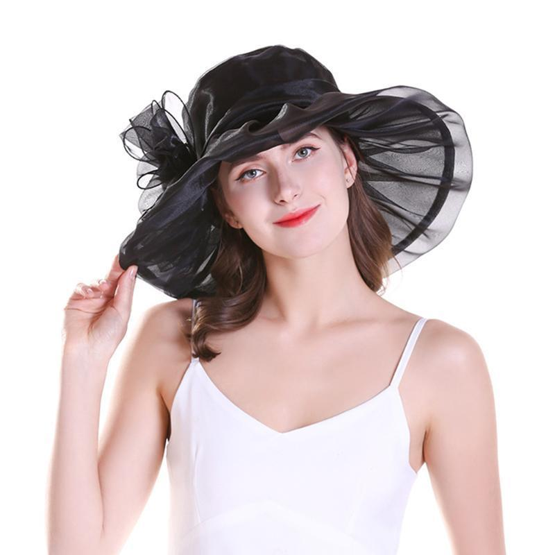 النساء في الهواء الطلق واسعة بريم عطلة حماية قبعات السفر شاطئ الزفاف مع الأزهار الشمس قبعة الأزياء هدايا الصيف