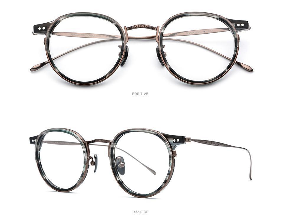 Retro puro titanium mulheres prescrição lente óculos óculos óculos anti-reflexo presbiopia vintage marca óculos homens